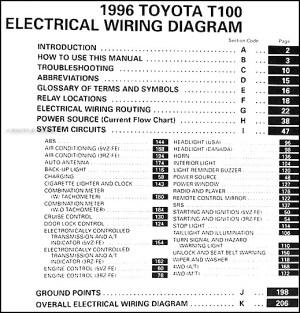 1996 Toyota T100 Truck Wiring Diagram Manual Original