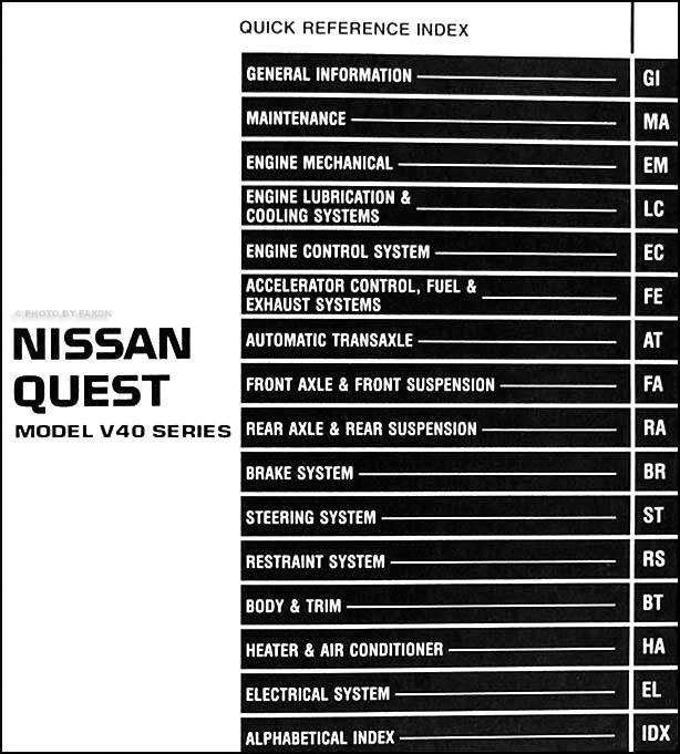 1997 Nissan Quest Van Repair Shop Manual Original