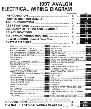 1997 Toyota Avalon Wiring Diagram Manual Original