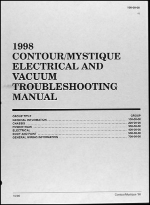 1998 Ford Contour Mercury Mystique Electrical Troubleshooting Manual 98 Wiring | eBay