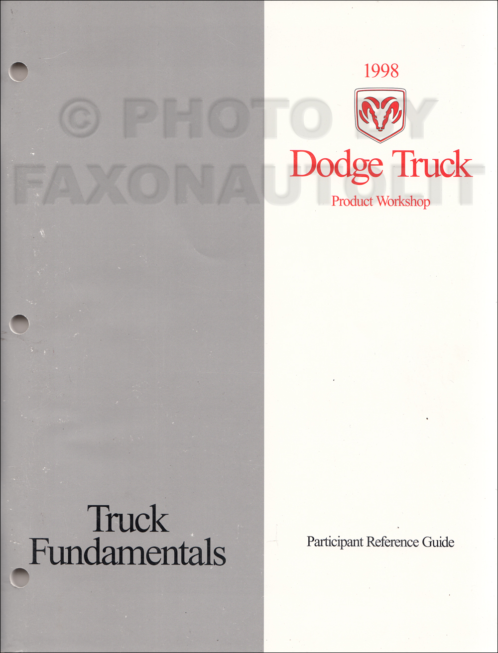 1998 Dodge Ram Truck Repair Shop Manual Original 1500-2500