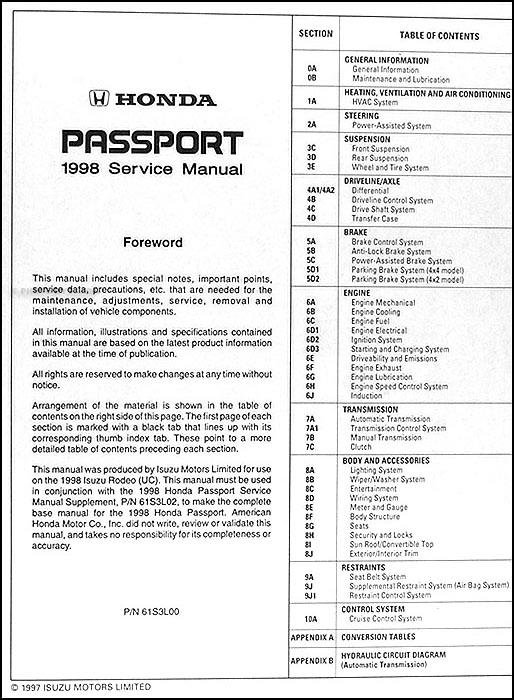 1998 Honda Passport Repair Shop Manual Original