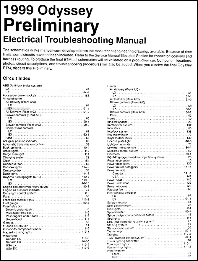 1999 Honda Odyssey Preliminary Electrical Troubleshooting