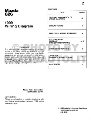 1999 Mazda 626 Wiring Diagram Manual Original
