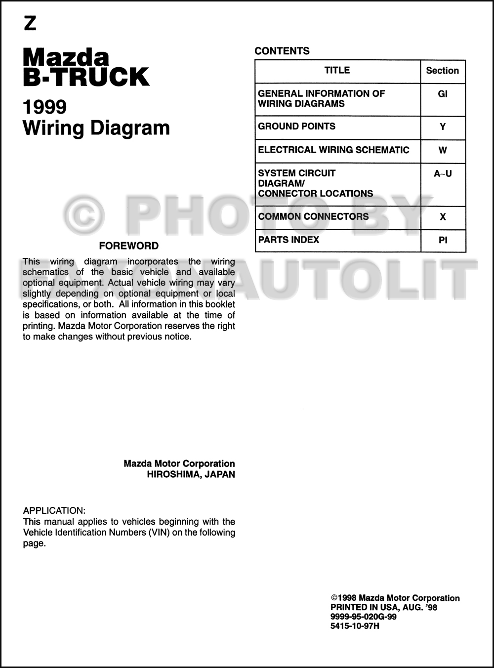 hight resolution of 1999 mazda b4000 b3000 b2500 pickup truck wiring diagram 96 mazda b3000 fuse diagram 1999 mazda b3000 fuse box diagram