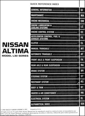 1999 Nissan Altima Repair Shop Manual Original