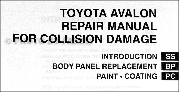 2000-2004 Toyota Avalon Body Collision Repair Shop Manual