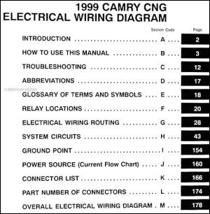 1999 Toyota Camry CNG Wiring Diagram Manual Original