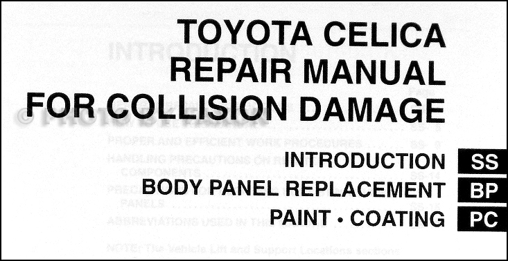 2000-2005 Toyota Celica Body Collision Repair Shop Manual