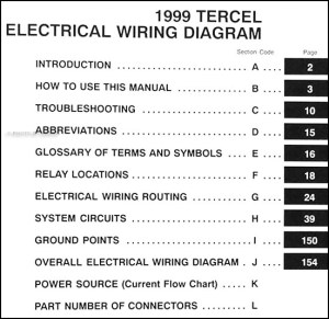1999 Toyota Tercel Wiring Diagram Manual Original