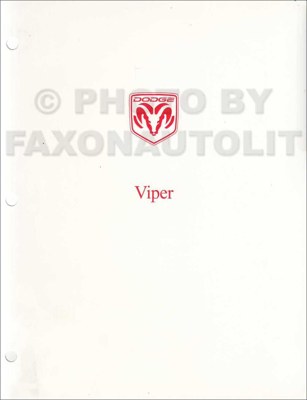 2000 Dodge Viper Coupe and Roadster Repair Shop Manual Original