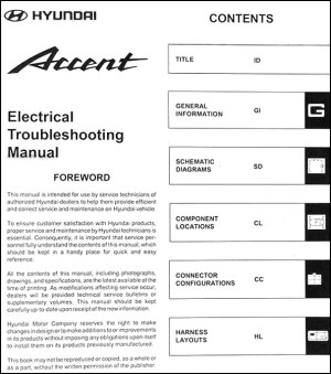 2000 Hyundai Accent Electrical Troubleshooting Manual Original