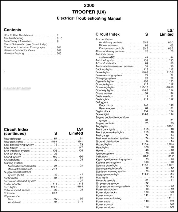 2000 Isuzu Trooper Electrical Troubleshooting Manual Original