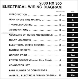 2000 Lexus RX 300 Wiring Diagram Manual Original