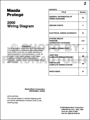 2000 Mazda Protege Wiring Diagram Manual Original