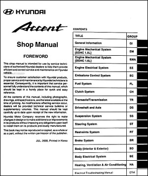 2001 Hyundai Accent Repair Shop Manual Original
