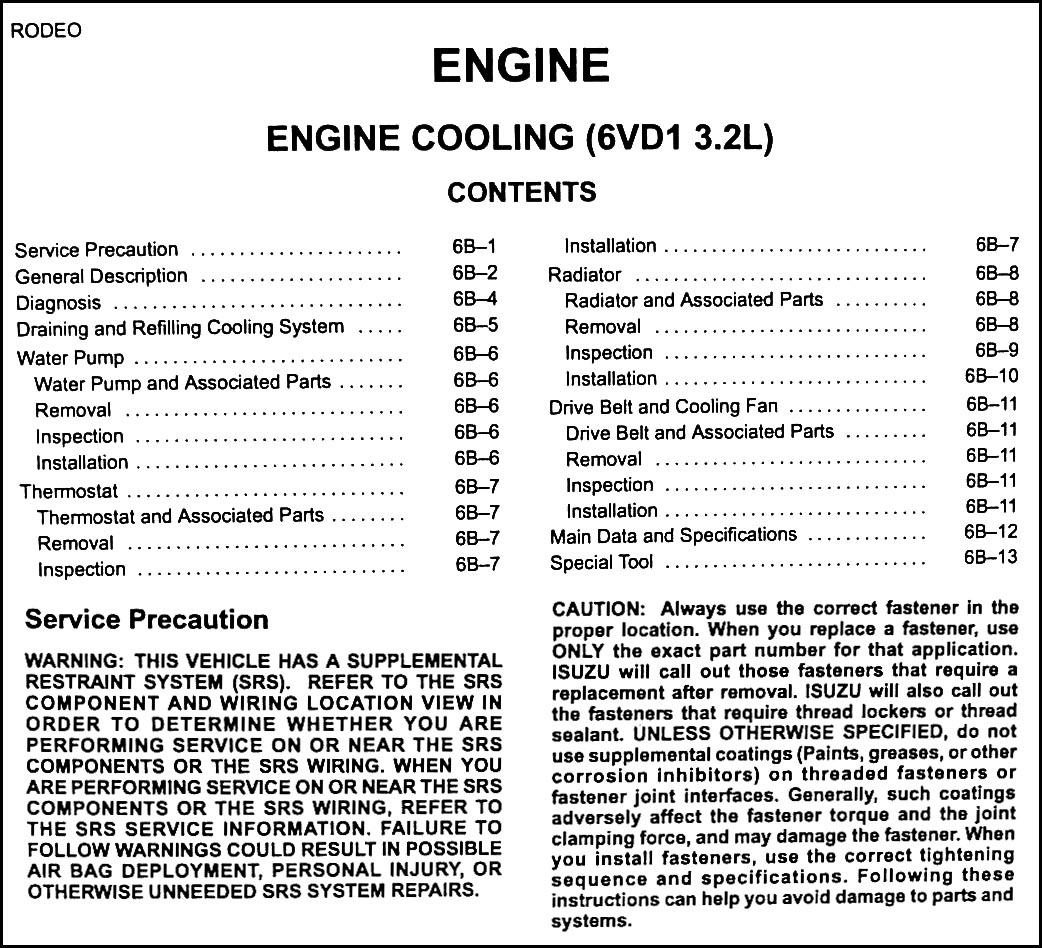 2001 isuzu rodeo engine diagram club car tail light wiring schematics