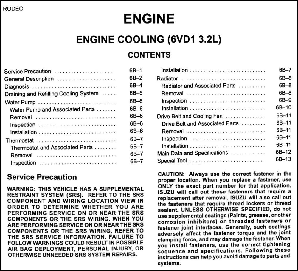 medium resolution of 2000 isuzu rodeo cooling system diagram wiring schematic search 1994 isuzu rodeo 3 2 engine diagram