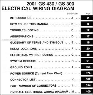 2001 Lexus GS 300 & GS 430 Wiring Diagram Manual Original