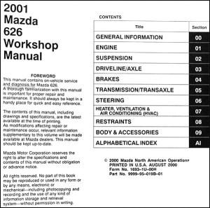 2001 Mazda 626 Repair Shop Manual Original