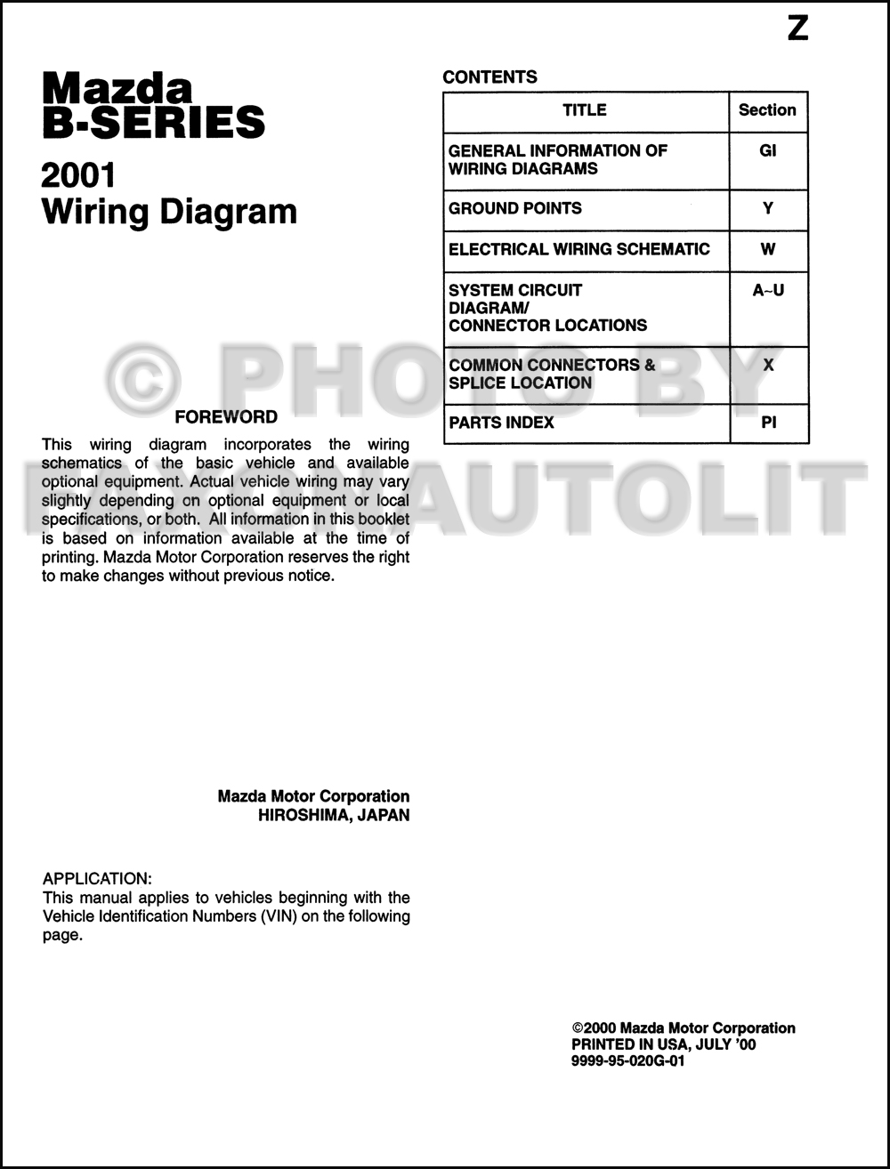 hight resolution of 2001 mazda b series pickup truck wiring diagram manual original b2500 b3000 b4000 2001 mazda b3000