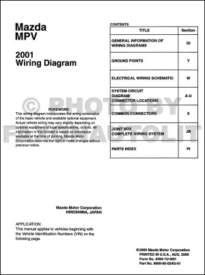 2001 Mazda MPV Wiring Diagram Manual Original