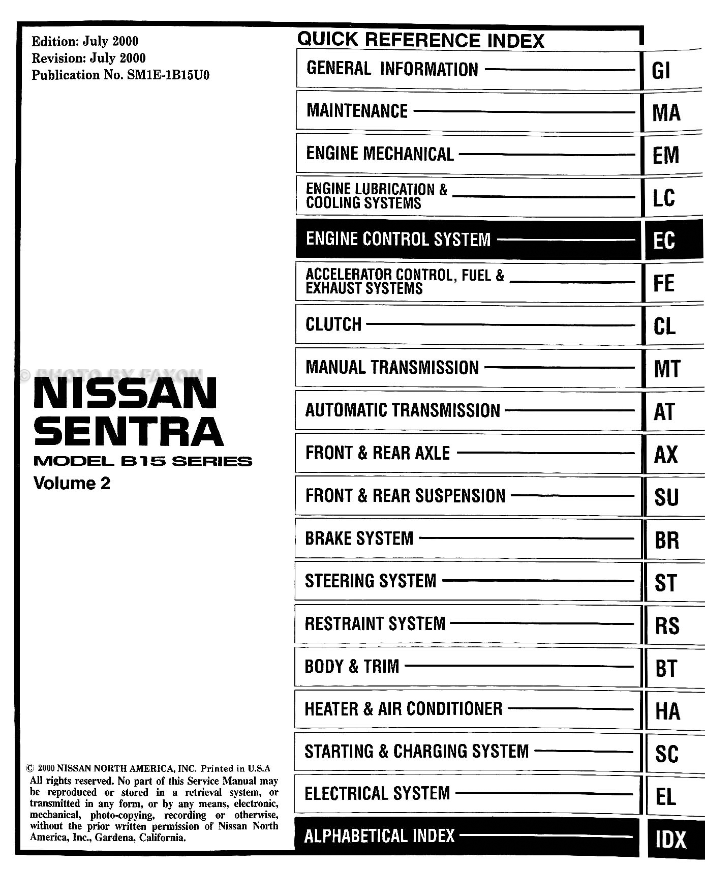 2001 nissan sentra wiring diagram trailer light 6 pin cd rom repair shop manual
