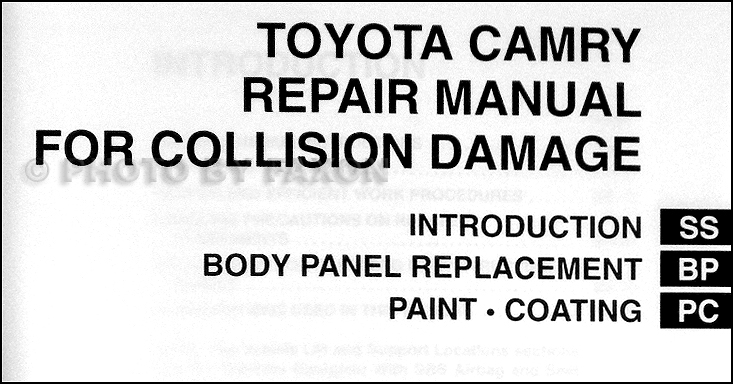 2002-2004 Toyota Camry Body Collision Repair Shop Manual