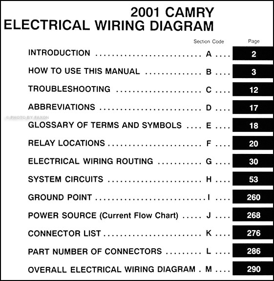 2001 Toyota Camry Wiring Diagram Manual Original