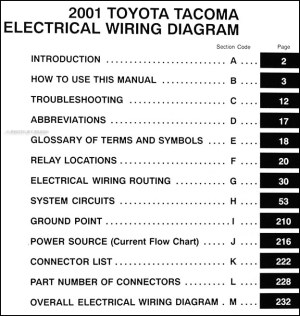 2001 Toyota Taa Pickup Wiring Diagram Manual Original