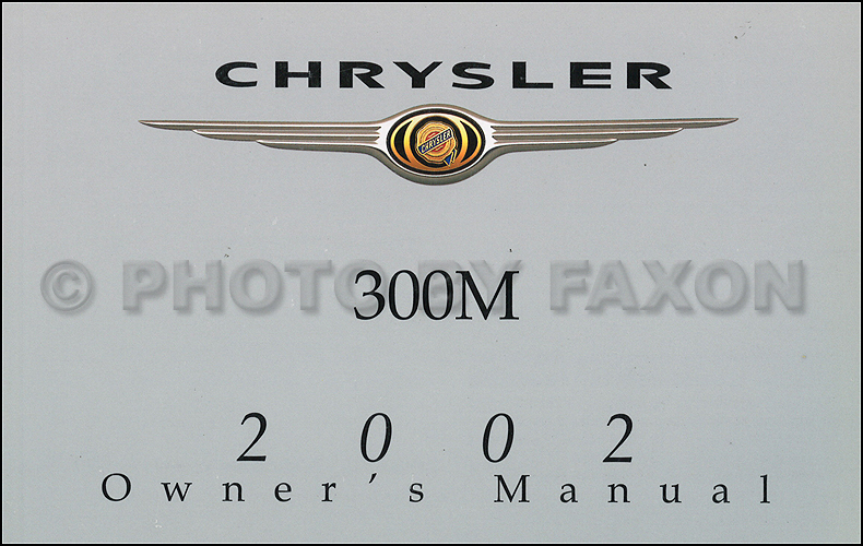 2002 Chrysler 300M Owner's Manual Original