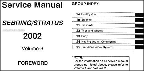 2002 Sebring & Stratus Coupe Repair Shop Manual Original 3