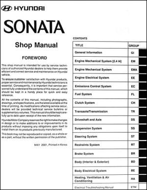 2002 Hyundai Sonata Repair Shop Manual