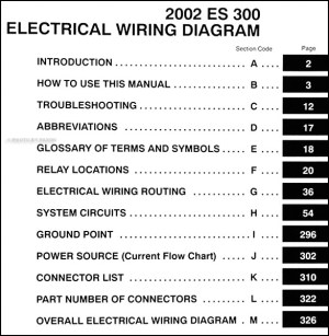 2002 Lexus ES 300 Wiring Diagram Manual Original