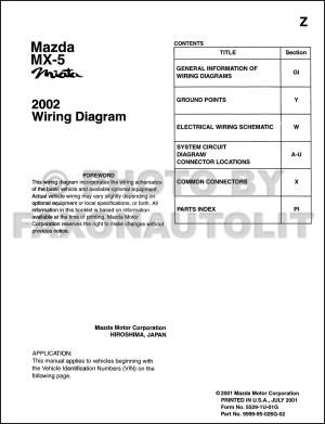2002 Mazda MX5 Miata Wiring Diagram Manual Original