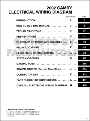 2002 Toyota Camry Wiring Diagram Manual Original