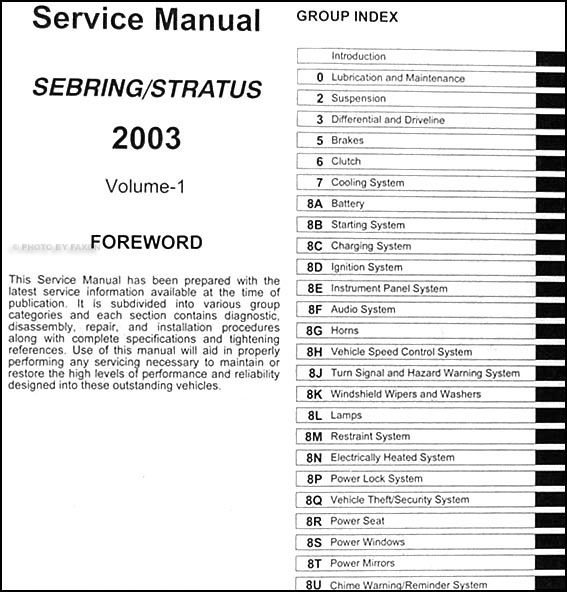 2003 Sebring & Stratus Coupe Repair Shop Manual Original 4