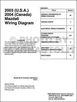 2003 Mazda6 Original Wiring Diagram (and 2004 Canada Mazda 6)