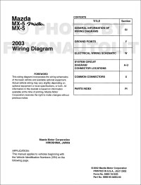 2003 Mazda MX-5 Miata MX-5 Wiring Diagram Manual Original