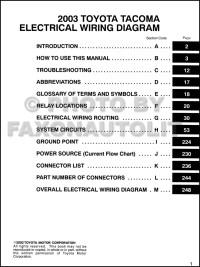 2003 Toyota Tacoma Pickup Wiring Diagram Manual Original