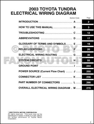 2003 Toyota Tundra Wiring Diagram Manual Original