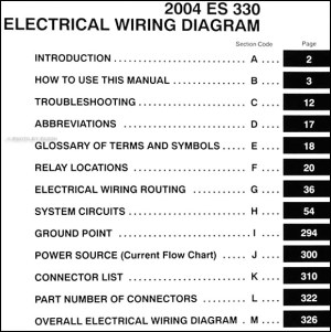 2004 Lexus ES 330 Wiring Diagram Manual Original