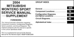 2004 Mitsubishi Montero Sport Wiring Diagram Manual Original
