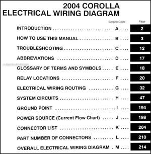 2004 Toyota Corolla Wiring Diagram Manual Original