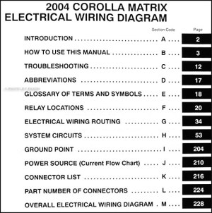 2004 Toyota Corolla Matrix Wiring Diagram Manual Original