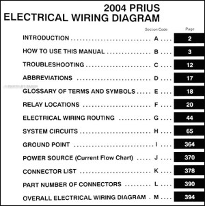 2004 Toyota Prius Wiring Diagram Manual Original