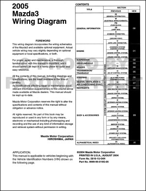 2005 Mazda 3 Wiring Diagram Manual Original
