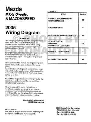 2005 Mazda MX5 Miata Mazdaspeed Wiring Diagram Manual