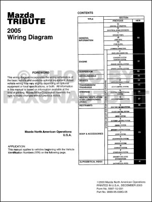 2005 Mazda Tribute Wiring Diagram Manual Original
