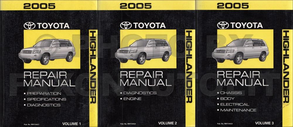 medium resolution of 2004 toyota highlander repair manual original set